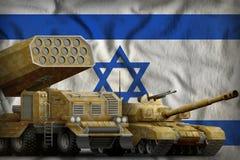 Israel tungt militärt pansarbilbegrepp på nationsflaggabakgrunden illustration 3d royaltyfri illustrationer