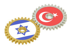 Israel and Turkey flags on a gears, 3D rendering Royalty Free Stock Image