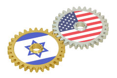 Israel and United States relations concept, flags on a gears. 3D Stock Photo