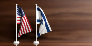 Israel and USA flags on wooden background. 3d illustration Royalty Free Stock Image