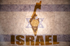 Israel vintage map. Israel map on a vintage israeli flag background Stock Images