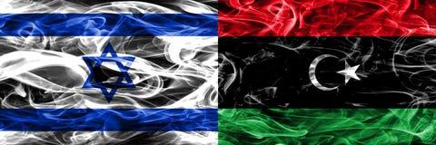 Israel vs Libya smoke flags placed side by side. Israeli and Lib. Israel vs bya smoke flags placed side by side. Israeli and bya flag together vector illustration
