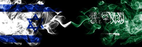 Israel vs Saudi Arabia, Arabian smoky mystic flags placed side by side. Thick colored silky smokes flag of Israel and Saudi Arabia. Arabian vector illustration