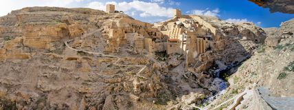 Israel - West Bank - Bethlehem - Greek monastery Holy Lavra of S. Greek monastery holy lavra of saint sabbas the sanctified aka mar saba taken from a cave with royalty free stock photo