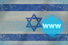 Israel www world wide web. Computer concept. Israel www world wide web. Computer concept on flag background Royalty Free Stock Photography