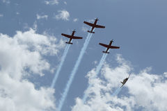 The Israeli Air Force Aerobatic team during Israel`s Annual Independence Day celebration Stock Photos