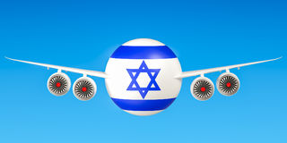 Israeli airlines and flying& x27;s, flights to Israel concept. 3D ren Stock Photos