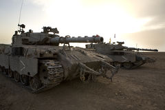 Israeli army armored corp, tank Merkava. Israeli defence forces, armored corps on the Gaza strip Stock Image