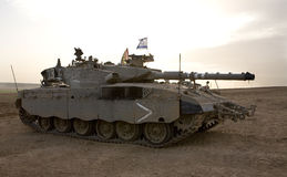 Israeli army armored corp, tank Merkava. Israeli Defense Forces's tank Merkava at the Gaza Strip border after military operation Cast Lead Royalty Free Stock Photography