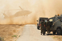 Israeli Army and Helicopter stock photo