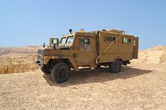 Israeli army Humvee on patrol in the Judean desert Stock Images