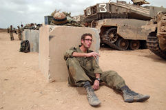 Israeli army soldiers resting during ceasefire Royalty Free Stock Photo
