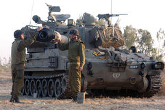 Israeli artillery M109 howitzer unit Stock Photography