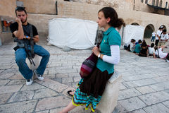 Israeli and Assault Rife at Western Wall Stock Images