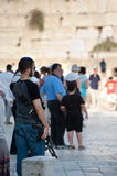 Israeli and Assault Rife at Western Wall Stock Photos