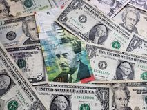 israeli banknote of 20 shekel and american dollars bills stock images
