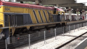 Israeli Bombardier double-deck coach enters Tel Aviv train station. TEL AVIV, ISR - APR 20 2015:Israeli Bombardier double-deck coach enters Tel Aviv train stock video