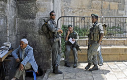 Israeli Border Guard at Damascus Gate, Jerusalem. JERUSALEM – JUNE 11: Israeli Border Guard, or Magav, stand on duty at Damascus Gate of Old City, East royalty free stock photography