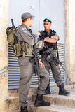 Israeli Border Police Soldiers. Heavily armed Magav Border Police near the Wetern Wall in Jerusalem, Israel, on the eve of the Fallen Soldiers Remembrance Day stock photos