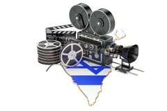 Israeli cinematography, film industry concept. 3D rendering. Isolated on white background Royalty Free Stock Image