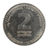 Israeli coin. The Two Israeli Sheqels coin stock photography