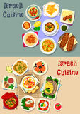 Israeli cuisine Shabbat dinner icon set design. Israeli cuisine Shabbat dinner icon set with meat vegetable soup, stew, chicken dumplings, stuffed fish and Royalty Free Stock Photo