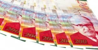 Israeli currency. Shekels bills aligned Stock Photos