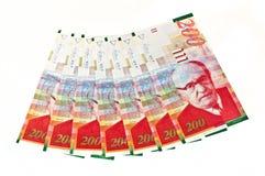 Israeli currency. Isolated Israeli currency shekels bills aligned royalty free stock photo