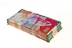 Israeli currency. Big stack of Israeli currency - shekel bills isolated royalty free stock photo