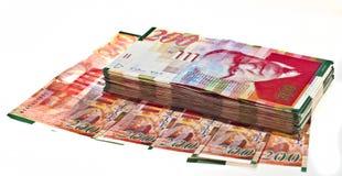 Israeli currency. Big stack of Israeli currency - shekel bills isolated stock images