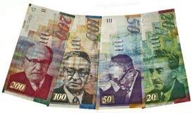 Israeli currency. All israeli money bills isolated stock photos