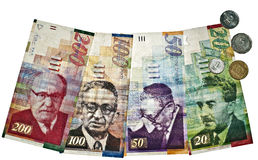 Israeli currency. All israeli money bills and coins isolated stock image