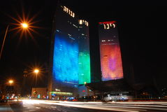 Israeli elections poll. A poll of the Israeli 2009 government elections on the night before the elections. Azrieli buildings are lighted with the poll results Stock Images