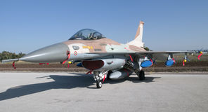 Israeli F-16 fighter airplan armed with bombs and Royalty Free Stock Photo