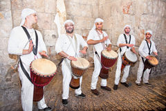 Israeli famous musicians, Jerusalem, Israel. Israeli famous musicians at the Zion gate in the old part Jerusalem on a jewish holiday Israel's 64th Independence royalty free stock photo