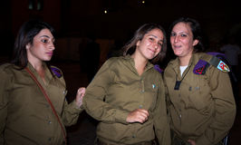Israeli female soldiers. Young Israeli female soldiers with guns smiling in Jerusalem, Israel / Palestine stock photography