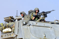 Israeli fighters in North Gaza strip Stock Photos