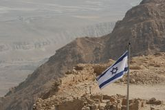 Israeli Flag on a Desert Mountain(Masada)