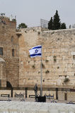 Israeli Flag in front of the Western Wall in the Old City of Jerusalem. Stock Photo