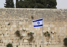 Israeli Flag in front of the Western Wall in the Old City of Jerusalem. Stock Photography
