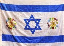 Israeli Flag Jerusalem Israel. Israeli Flag Western Star of David Jerusalem Israel.  Israeli/Israel Flag with Symbots Different Divisions of IDF, Israeli Defense Stock Photos