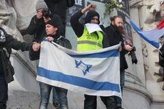 Israeli flag in manifestation, Paris. Royalty Free Stock Photos