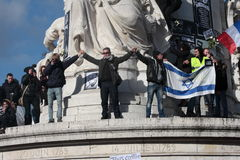 Israeli flag in manifestation, Paris. Royalty Free Stock Photo