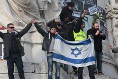 Israeli flag in manifestation, Paris. Stock Images