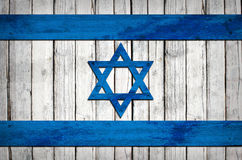 Israeli flag painted on wooden boards Royalty Free Stock Photos