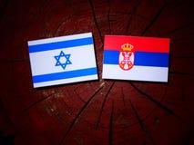 Israeli flag with Serbian flag on a tree stump isolated. Israeli flag with Serbian flag on a tree stump royalty free stock photos