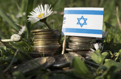 Israeli flag with stack of money coins with grass Stock Photography