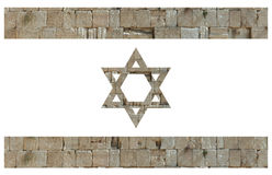 Israeli flag with stones of the Wailing wall Stock Image