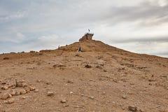 Israeli flag in the top of a mountain Stock Photos