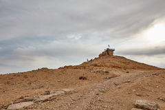 Israeli flag in the top of a mountain Stock Images